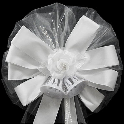 "24"" Satin Edge Organza Ribbon With Pearl Sprays And Silk Rose Wedding Pew Bows Church Chair Decoration"