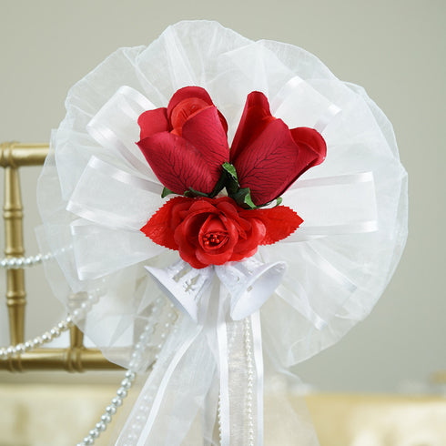 "24"" Pearl String Organza Ribbon With Two Bells And Silk Roses Pew Bows"