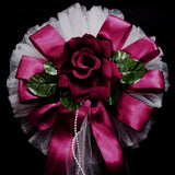 "24"" Satin Edge Organza Ribbon With Pearl Tails And Velvet Roses Floral Wedding Pew Bows Church Chair Decoration"