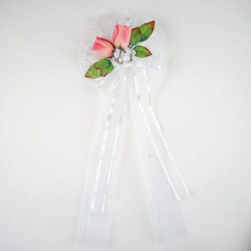 "24"" Satin Edge Organza Ribbon With Pearl Tails And Rose Buds Pew Bows"