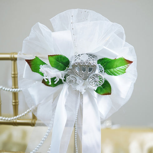 "24"" Pearl Spray Satin Ribbon With Cinderella Coach On Rose Buds Silk Leaves Pew Bows"