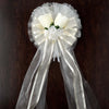 "24"" Satin Edged Organza Ribbon With Rose Buds Organza Flowers Pearl Spray Floral Pew Bows"