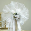 "24"" Satin Ribbon With Pearly Spray Dew Kissed Roses Pew Bows"