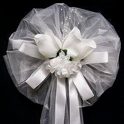 "24"" Satin Ribbon With Pearly Spray Dew Kissed Roses Wedding Pew Bows Church Chair Decoration"