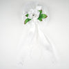 "24"" Satin Ribbon Double Blooming Roses With Leaves Pew Bows"