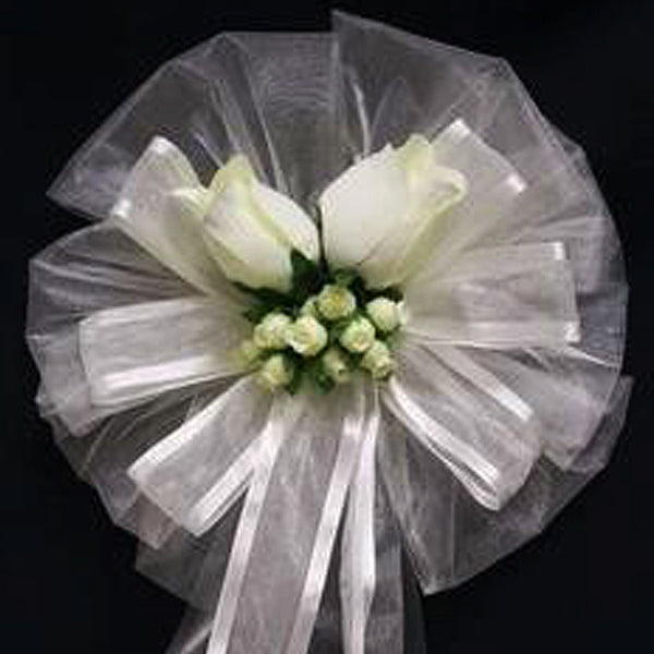 "24"" Satin Edge Organza Ribbon With Velvet Roses And Silk Buds Pew Bows"