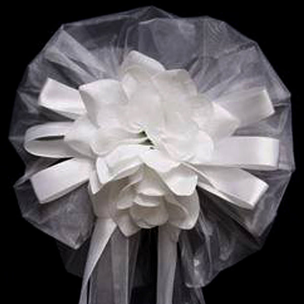 "24"" Satin and Organza Ribbon with Double Velvet Roses Pew Bows"