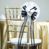"24"" Black Satin Edged Organza Ribbon With Double Velvet Rose buds Pew Bows"