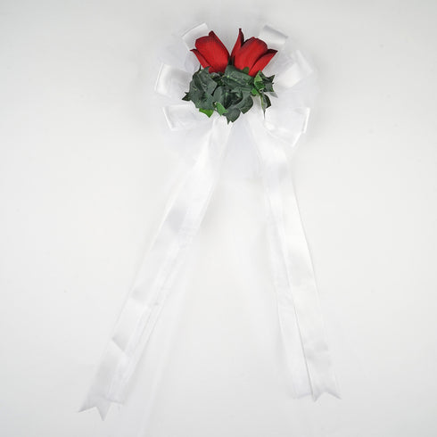 "24"" Satin Ribbon With Large Double Velvet Roses And Green Ivy Pew Bows"