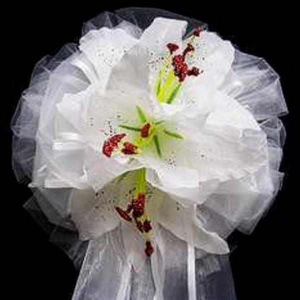 "24"" Satin Edged Organza Ribbon With Double Tiger Lilies Pew Bows"