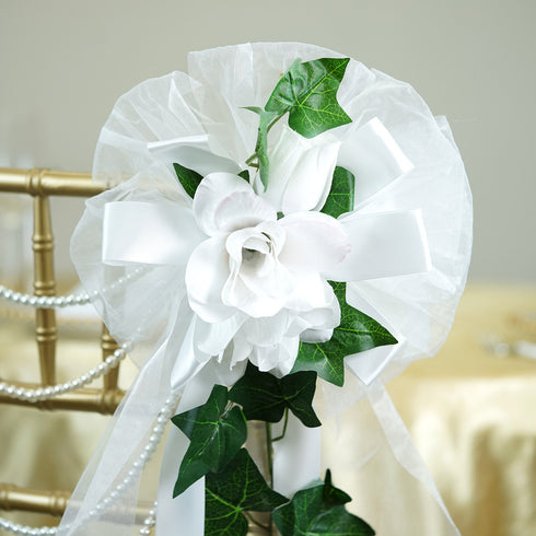 "24"" Satin Ribbon With Velvel Roses On Green Ivy Pew Bows"