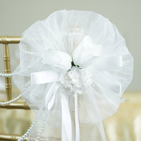 "24"" Satin Ribbon With Pearl Flowers and Pair Of Velvet Rose Buds Pew Bows"