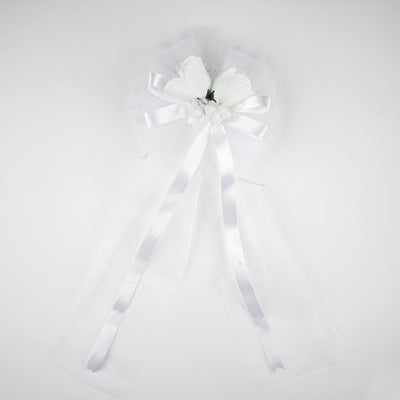 "24"" Satin Ribbon Double Velvet Roses Ancona Pew Bows"