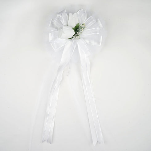 "24"" Organza Ribbon Double Velvet Roses With Silk Leaves Pew Bows"