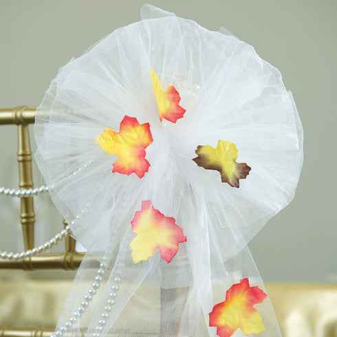"24"" Organza Ribbon With Maple Leaves Pew Bows"