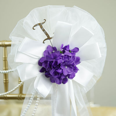 "24"" Satin Ribbon Pearl String With Hydrangea Bush And Monogram Letter Pew Bows"