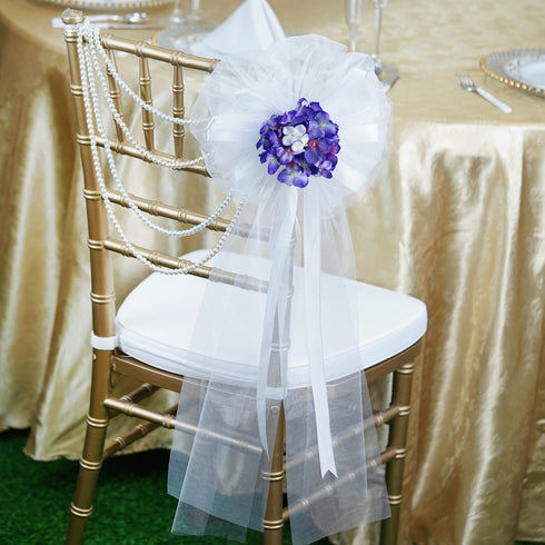 "24"" Satin Ribbon With Hydrangea Bush Pew Bows"