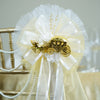 "24"" Satin Edged Organza Ribbon With Pearl Spray Flower Accented Cinderella Carriage Pew Bows"