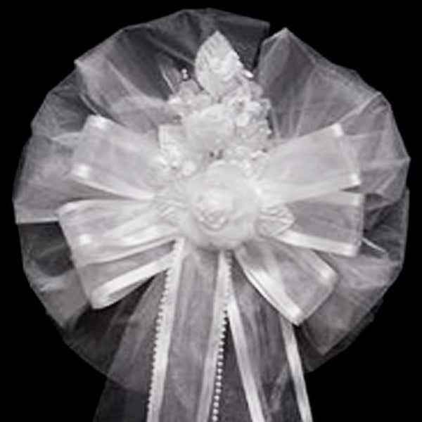 "24"" Satin Edge Organza Ribbon With Pearl Sprays And Silk Rosette Pew Bows"