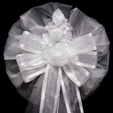 24 Quot Satin Edge Organza Ribbon With Pearl Sprays And Silk