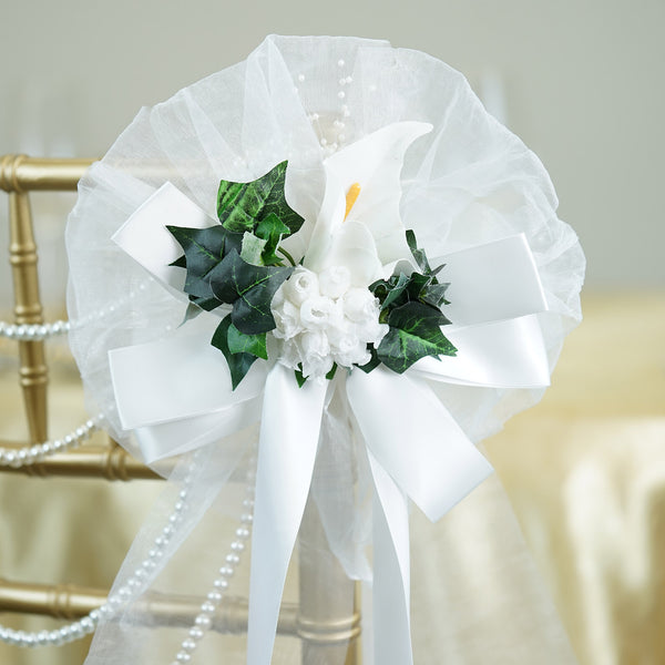 24 Quot White Satin Ribbon With Calla Lily Wedding Pew Bows