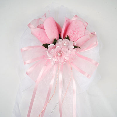 "24"" Satin Edged Organza Ribbon With Pearl Spay Accented Pair Of Rose Buds Floral Pew Bows"