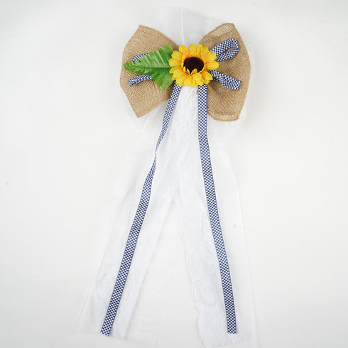 "24"" Burlap Ribbon With Sunflower On Floral Lace Strip Pew Bows"
