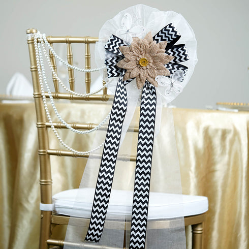 "24"" Chevron Ribbon With Burlap Daisy Flower Pew Bows"