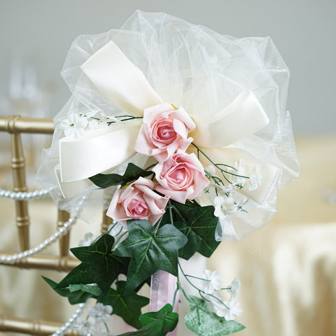 "24"" Satin Organza Ribbon Ivy Foliage Accented with Rose And Baby Breaths Pew Bows"