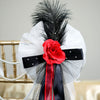 "24"" Satin Organza Ribbon With Ostrich Feather Accented Rose Pew Bows"