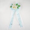"24"" Satin Ribbon With Leaf Accented Peony Flowers Pew Bows"