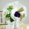 "24"" Satin Organza Ribbon With Pearl Accented Chrysanthemum Ranunculus Bulb And Leaf Pew Bows"