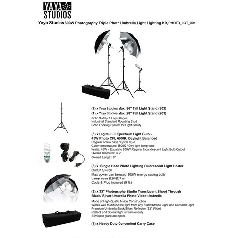 ... Photography Photo Portrait Studio 600W Day Light Black/Silver Umbrella Continuous Lighting Kit ...  sc 1 st  eFavormart.com & Photography Photo Portrait Studio 600W Day Light Black/Silver ...