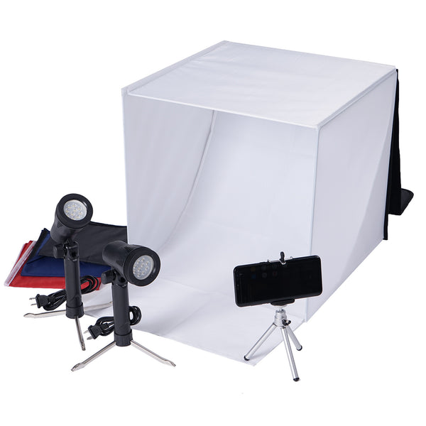 Photo Box Photo Light Box Photography 16x16x16 inch Professional 126 LED Light Shooting Tent Table Top Lighting Kit with 6 Background Papers