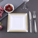 "10 Pack 7"" White Disposable Square Salad Dessert Plates With Gold Hot Dots Rim"