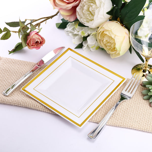 "10 Pack - 7"" White Disposable Plastic Square Salad Dessert Plates With Shiny Gold Rim"
