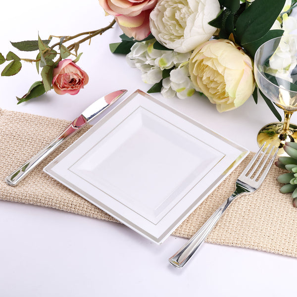"10 Pack - 7"" White Disposable Plastic Square Salad Dessert Plates With Shiny Silver Rim"