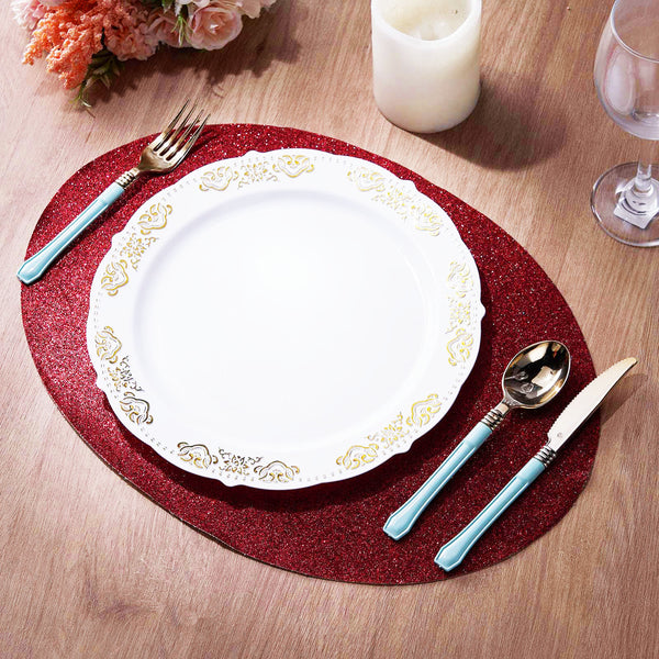 6 Pack Glitter Placemat Non Slip Table Placemats, Oval Faux Leather Placemats With Glitter - Burgundy