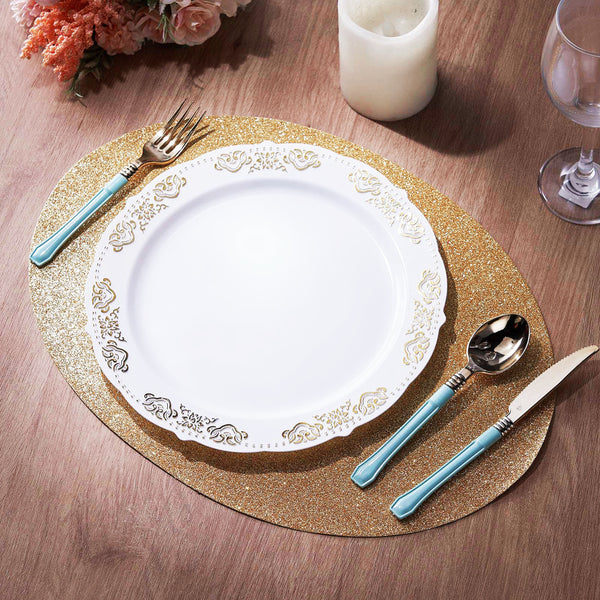 6 Pack Glitter Placemat Non Slip Table Placemats, Oval Faux Leather Placemats With Glitter - Champagne