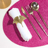 "6 Pack Placemats, Fushia Dining Table Mats, Oval Faux Leather Glitter Placemat - 12""x16"""