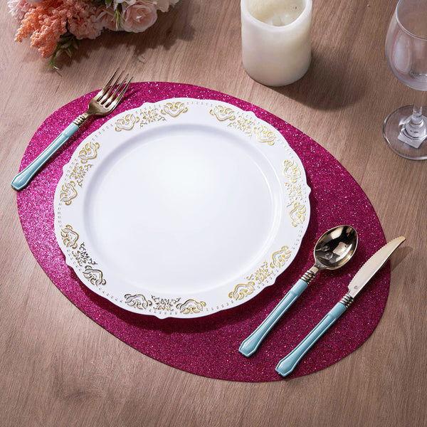 6 Pack Glitter Placemat Non Slip Table Placemats, Oval Faux Leather Placemats With Glitter - Fushia