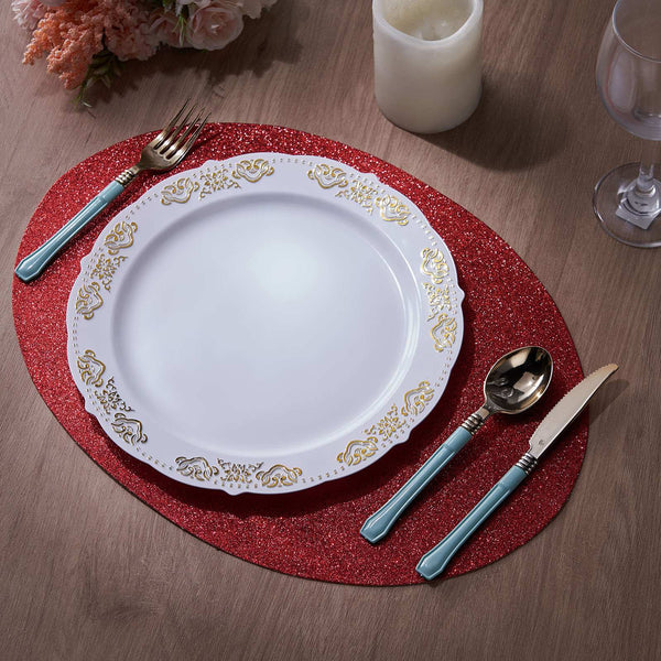 6 Pack Glitter Placemat Non Slip Table Placemats, Oval Faux Leather Placemats With Glitter - Red