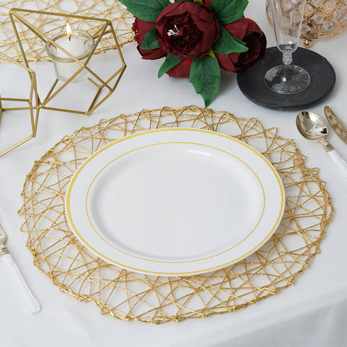 "6 Pack - 15"" Gold Metallic String Woven Placemats - Round Table Placemats"