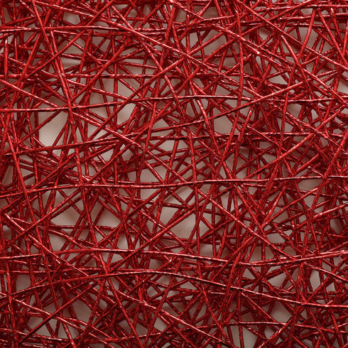 "6 Pack - 15"" Red Metallic String Woven Placemats - Round Table Placemats"