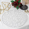 "6 Pack - 15"" Silver Metallic String Woven Placemats - Round Table Placemats"