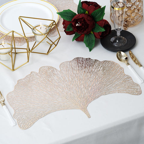 "6 Pack | 16.5"" Gold Fan Vinyl Placemats 