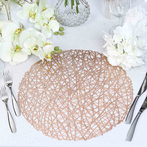 Round Woven Placemat, Vinyl Placemat, Dining Table Placemat