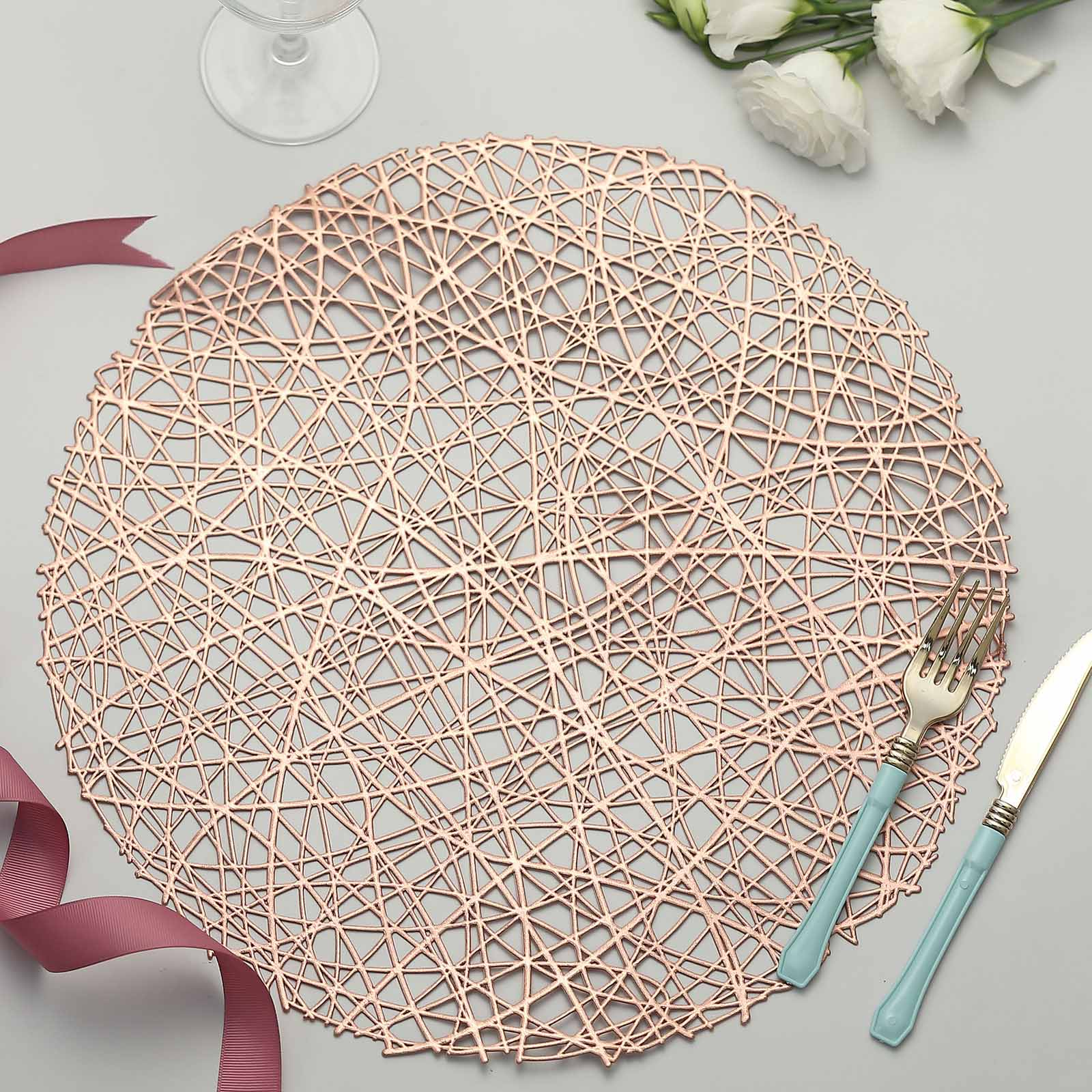 6 Pack 15 Round Woven Vinyl Placemats Non Slip Dining Table Placemats Rose Gold Blush Efavormart