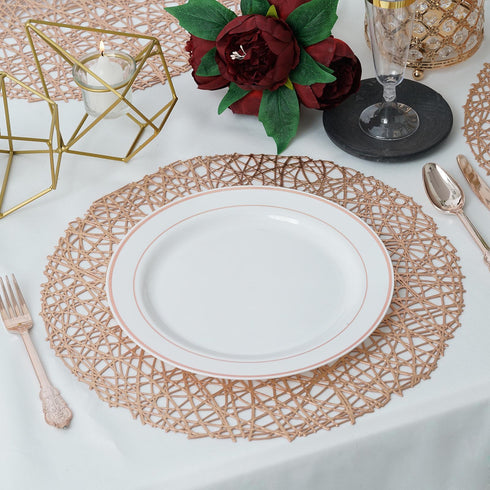 "6 Pack | 15"" Rose Gold Round Woven Vinyl Placemats 
