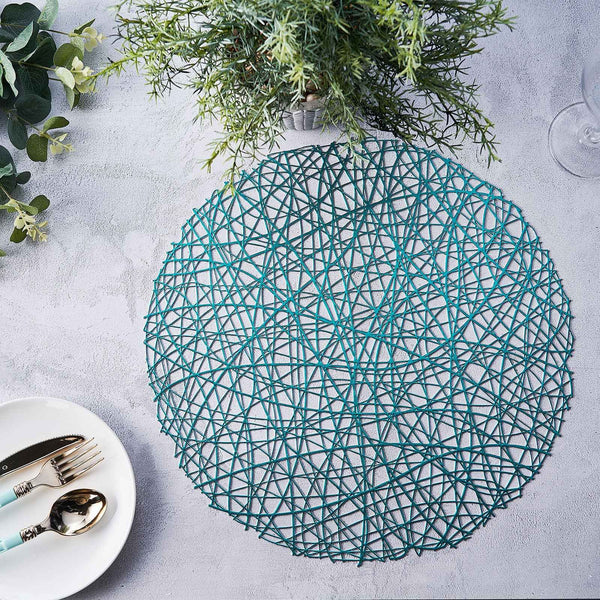 "6 Pack | 15"" Turquoise Round Woven Vinyl Placemats 